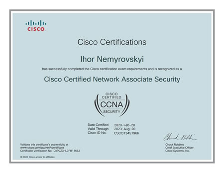 Сертифікат Cisco Certified Network Associate Security